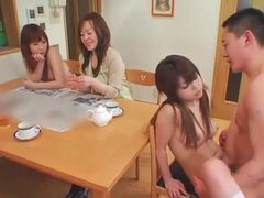 Japanese babes getting fucked in the living room